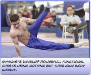 Gymnasts use natural chest exercises